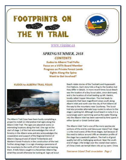 Footprints Newsletter Spring & Summer 2018